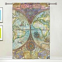 NaiiaN Gardinen Weltkarte 55x84 Zoll, 1 Panel
