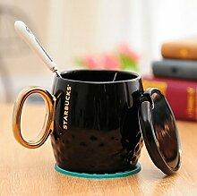 Naktdh Gold Griff Keramik Tasse Kaffee Becher mit