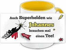 Namens-Tasse Johannes mit Superhelden-Motiv für