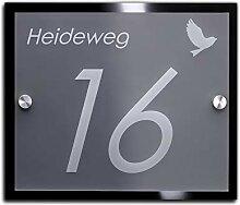 Namensschild/Hausnummer mit Gravur aus Acrylglas