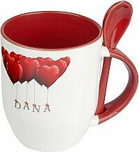 Namenstasse Dana - Löffel-Tasse mit Namens-Motiv