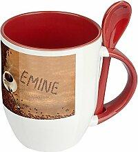Namenstasse Emine - Löffel-Tasse mit Namens-Motiv