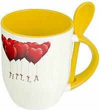 Namenstasse Hilla - Löffel-Tasse mit Namens-Motiv
