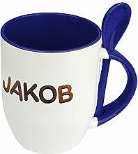 Namenstasse Jakob - Löffel-Tasse mit Namens-Motiv