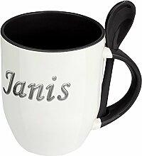 Namenstasse Janis - Löffel-Tasse mit Namens-Motiv