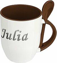 Namenstasse Julia - Löffel-Tasse mit Namens-Motiv