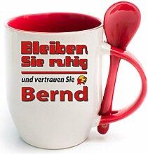 Namenstasse Löffel Rot Bernd bleibt ruhig. Nur