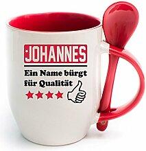 Namenstasse Löffel Rot Johannes. Ein Name bürgt