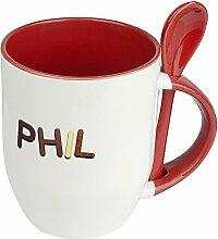 Namenstasse Phil - Löffel-Tasse mit Namens-Motiv