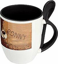 Namenstasse Ronny - Löffel-Tasse mit Namens-Motiv