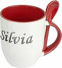 Namenstasse Silvia - Löffel-Tasse mit