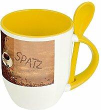 Namenstasse Spatz - Löffel-Tasse mit Namens-Motiv