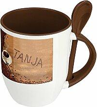 Namenstasse Tanja - Löffel-Tasse mit Namens-Motiv