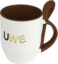Namenstasse Uwe - Löffel-Tasse mit Namens-Motiv