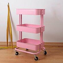 NAN Lagerung Rack Drei Schichten Eisen Kohlenstoffstahl Es kann Schwarz dunkelgrau rosa rötlich braun haben einen Griff keine Handgriff weiße Küche ( Farbe : Pink , stil : No handle )