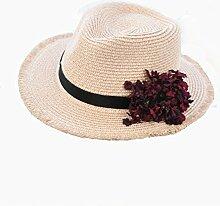 NAN Sonnenhut-weiblicher Sonnenschutz-Strohhut-Sommer-koreanische gesponnene Blumen-Jazz-Hut-Ferien-Strand-Hut-Rosa-weißes Gelb ( Farbe : Pink )
