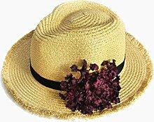 NAN Sonnenhut-weiblicher Sonnenschutz-Strohhut-Sommer-koreanische gesponnene Blumen-Jazz-Hut-Ferien-Strand-Hut-Rosa-weißes Gelb ( Farbe : Gelb )