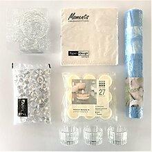 naninoa ®, DEKOSET 1, TISCHDEKORATION für den festlichen Tisch. (7201 Light Blue / HELLBLAU)