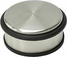 nanook - Türstopper Edelstahl matt, schwere Qualität - mit Gummischutz: rutschfrei - Maße: Ø 10 cm, Höhe 4 cm - 1 Stück