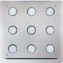 Naomi 9er LED Deckenleuchte eckig chrom grau GU10