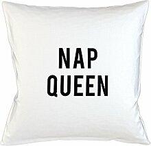 Nap Queen Sleep Lazy Sleepy Fun Kissenbezug Haus Sofa Bett Dekor Weiß