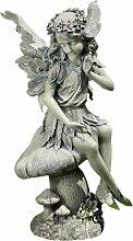 Napco Gartenstatue, sitzender Engel auf Pilz, 41