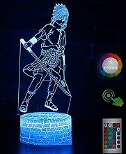 NAR·uto Uchi·ha SAS·uke 3D Nachtlicht Led