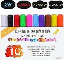 Nardo visgo Flüssigkreide Marker & Stifte–Set Neon 10radierbare Color Marker (wendbar 6mm Tipps) mit 26Tafel Aufkleber, perfekt für Kinder Kunst Dekoration Menu Board