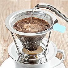 Naroote Kaffeefilter, abnehmbarer Edelstahl Double