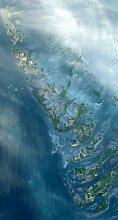 NASApete Florida Keys, Satellitenfoto, Fototapete, Bildtapete, XXXL-Poster, 3 Bahnen, 139,5x260cm