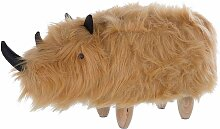 Nashorn-Tierhocker Sandbeige Webpelz Felloptik