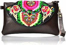 National PU Taschen Wallet–memorecool Haustierhaus Stickerei Muster Handtaschen magnetisch Schnalle Design Schwarz Hintergrund schwarz 2