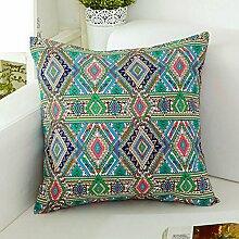 National Wind Pillows,Redwood Sofa Cushions,Cotton And Linen Long Pillow-B 30x45cm(12x18inch)VersionA
