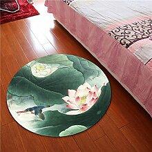 Nationaler Windkorb Drehstuhl Teppich, Kinderzimmer Lotusmatte, runder Teppich, chinesischer Windteppich ( größe : 60 , stil : A )
