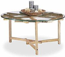 Native Home Couchtisch rund, Tischplatte aus Glas,