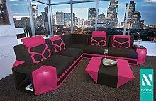 NATIVO© LUXUS STOFFSOFA AVENTADOR CORNER MIT LED BELEUCHTUNG Sofa L-Form mit Ottomane variabel