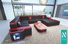 NATIVO© Sofa CESARO Stoffsofa XXL mit LED Beleuchtung Sofa U-Form mit XXL Ottomane variabel