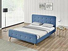 Natt Bett Stoff Leinen Shutter Blue Hellblau 180x 200cm