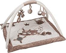 Nattou Max, Noa & Tom Krabbeldecke mit Spielbogen (Weiß-Braun) [Babyspielzeug]