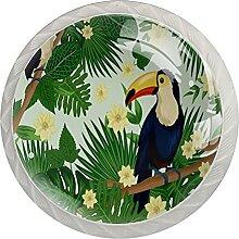 Natürliche tropische Blumen Palmen Tukan