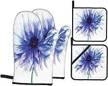 Natur Erde Kornblumen-Druck,Ofenhandschuhe und
