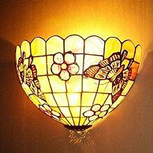 Natural High-End-dekorative Wand-Lampe Shell Lampe Shell-Wand-Lampe 12 Zoll Kirsche Schmetterling Continental Tiffany-Lampen