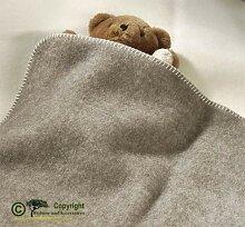 Naturbelassene Babydecke, Baby Wolldecke grau und