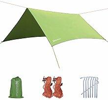 NatureFun 3 * 3m Hängematte Regenschutz Tarp, Regenfliege, Trockenfliege, Zeltschutz, Tragbares Leichtes Wasserdichtes für Camping- und Schneeschutz mit Guy Line und Stake Ki