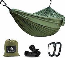 NatureFun Ultraleichte Camping Hängematte / 300kg Tragfähigkeit,(300x 200 cm) Atmungsaktiv, schnell trocknende Fallschirm Nylon / Enthalten 2 x Premium Karabinerhaken 2x Nylonschlingen / Fürs Freie oder einen Innengarten