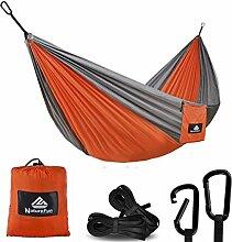 NatureFun Ultraleichte Camping Hängematte / 300kg Tragfähigkeit,(275 x 140 cm) Atmungsaktiv, schnell trocknende Fallschirm Nylon / Enthalten 2 x Premium Karabinerhaken 2x Nylonschlingen / Fürs Freie oder einen Innengarten