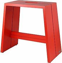 NATUREHOME Design-Hocker Massivholz Buche rot mit Griff