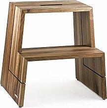 NATUREHOME Design-Tritthocker Massivholz Nussbaum Natur geölt mit Tragegriff Hocker Sitzhocker Trittschemel Holz