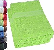 NatureMark 2er Pack SAUNATÜCHER PREMIUM Qualität 80x200cm SAUNATUCH Sauna-Handtuch Doppelpack Farbe: Apfel grün