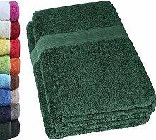 NatureMark 2er Pack SAUNATÜCHER PREMIUM Qualität 80x200cm SAUNATUCH Sauna-Handtuch Doppelpack Farbe: Dunkel grün